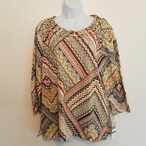 Alfred Dunner Geometric Pattern Stretch Top Size L